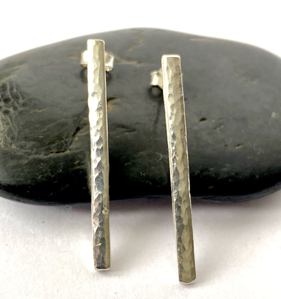 Sterling Silver Hammered Bar Stud Earrings - Glitter and Gem Jewellery