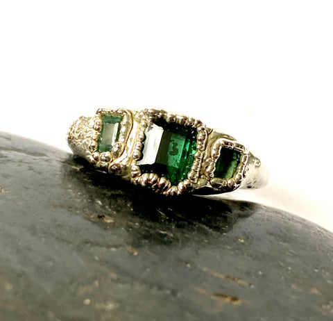 Green Tourmaline Silver & Copper Formed Ring - Glitter and Gem Jewellery
