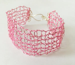 Hand Woven Pink wire Bracelet - Glitter and Gem Jewellery