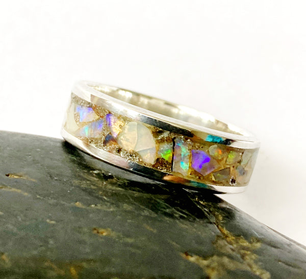 Sterling Silver Natural Opal Inlay Unisex Ring - Glitter and Gem Jewellery