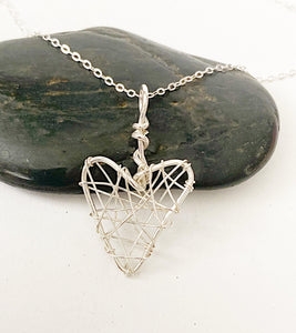 Heart Wire Sterling Silver Pendant Necklace