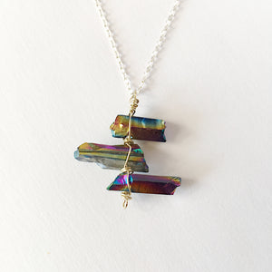 Titanium Rainbow Quartz Point Sterling Silver Pendant