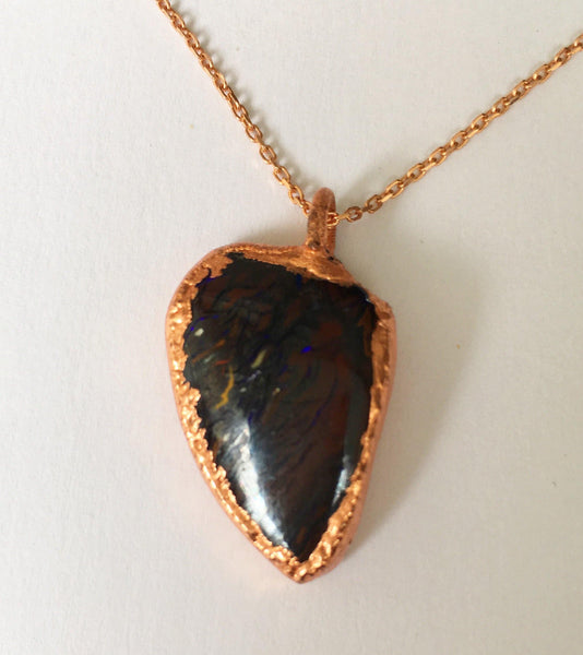 Boulder Opal Copper & Rose Gold Plated Sterling Silver Necklace - Glitter and Gem Jewellery