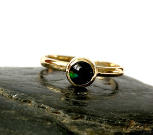 Solid Black Opal 9 ct Gold Ring - Glitter and Gem Jewellery