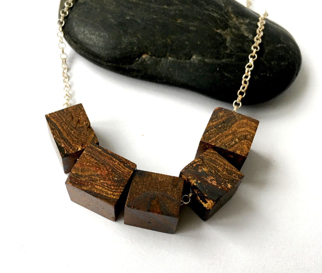 Boulder Opal Cubes Floating Sterling Silver Necklace - Glitter and Gem Jewellery