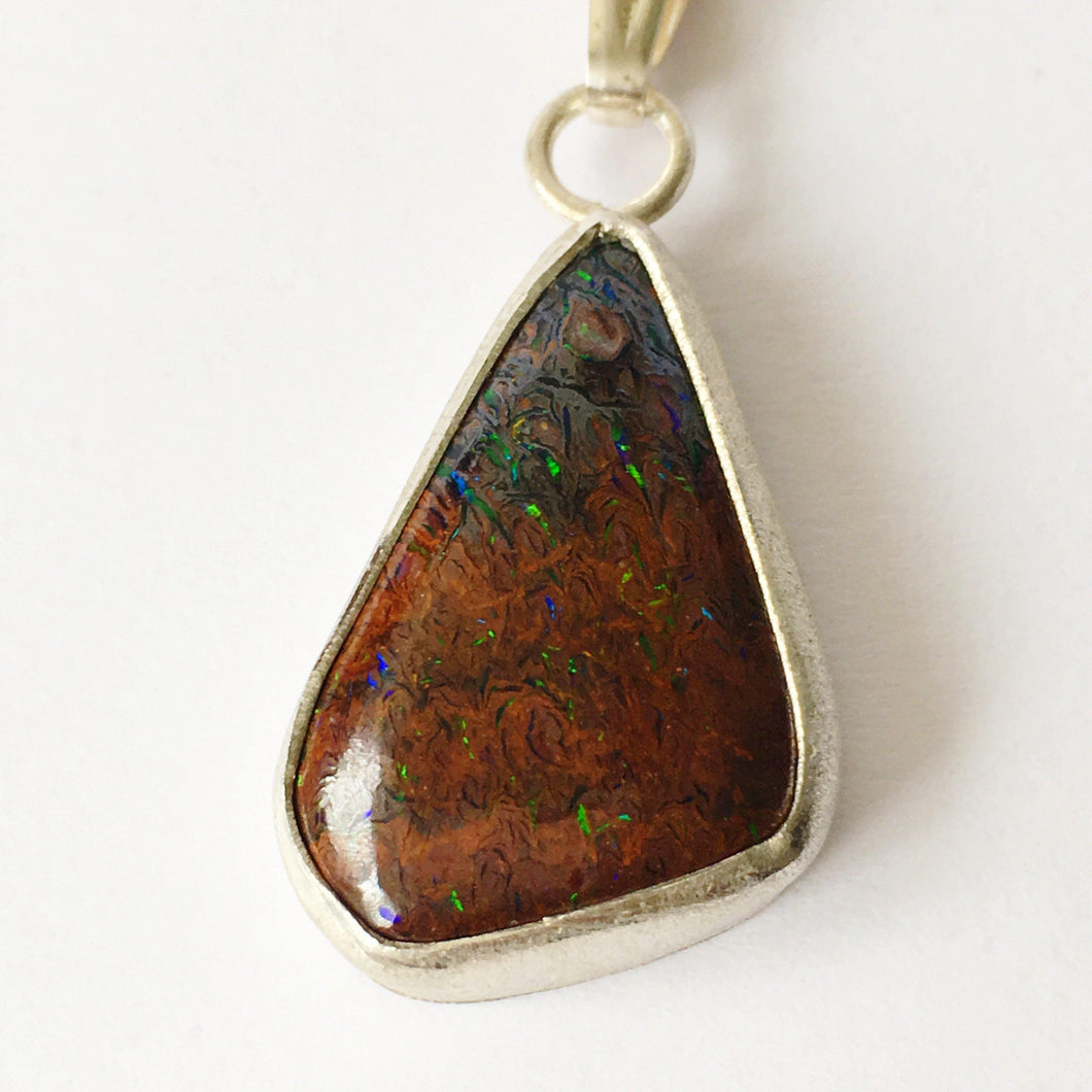 Brushed Silver Boulder Opal Pendant Necklace - Glitter and Gem Jewellery
