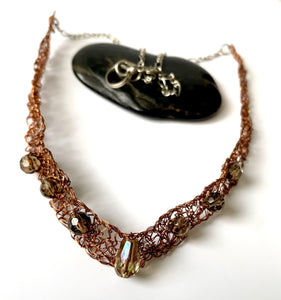 Bronze Wire Hand Woven Beaded Necklace