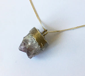 Raw Amethyst Silver Rough capped Sterling silver Necklace - Glitter and Gem Jewellery