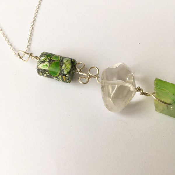 Jasper, Quartz & Green Quartz Sterling Silver Pendant Necklace - Glitter and Gem Jewellery