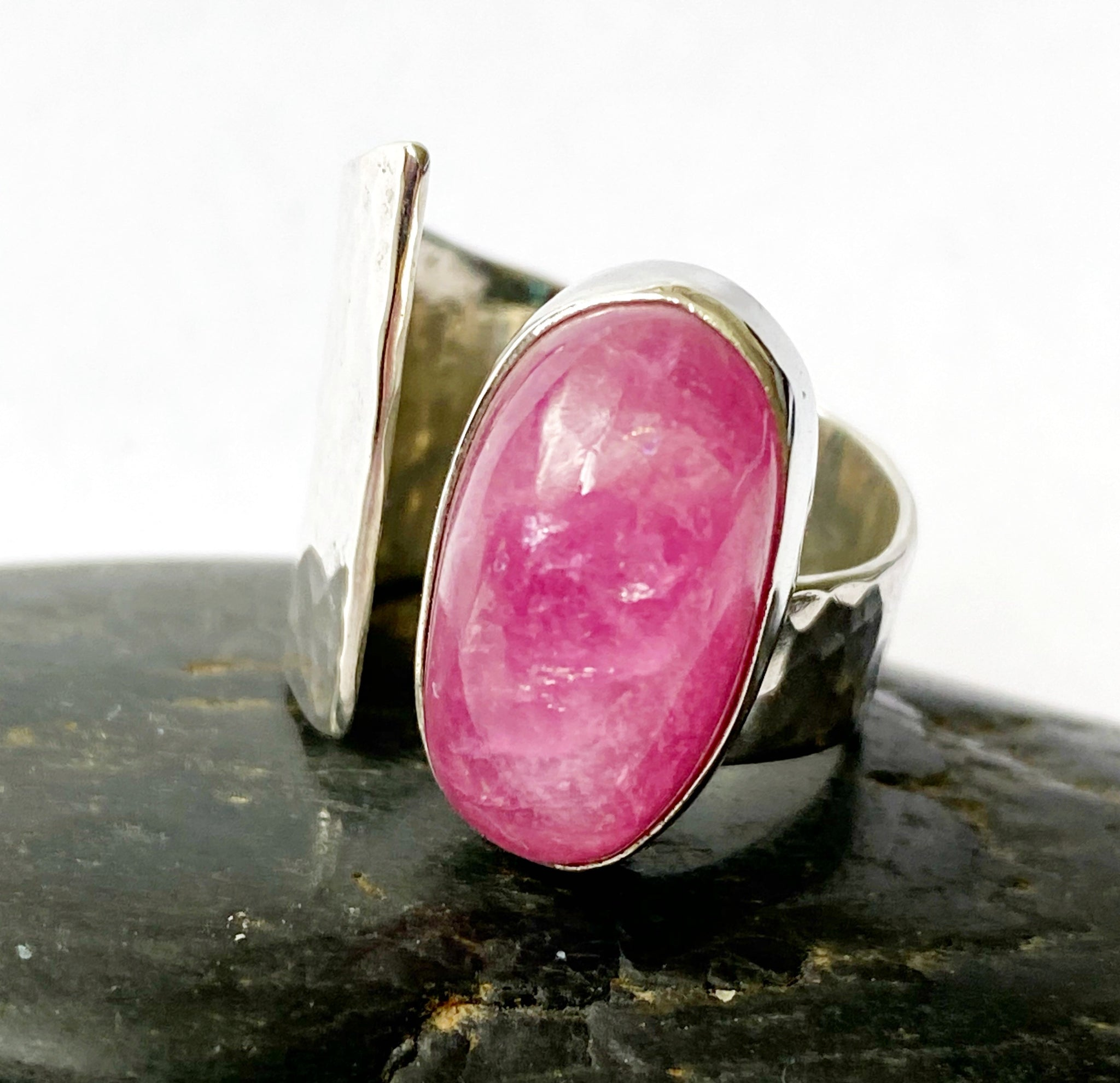Tourmaline Statement Sterling Silver Ring - Glitter and Gem Jewellery
