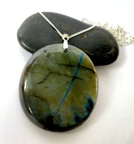 Large Circular Labradorite Sterling Silver Pendant Necklace - Glitter and Gem Jewellery