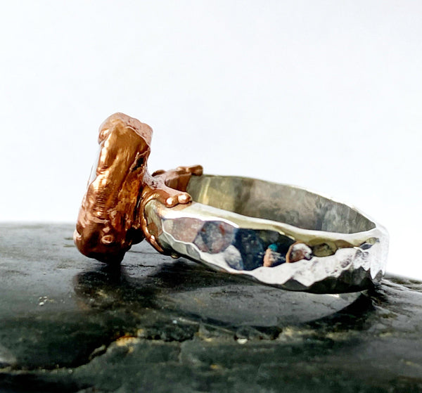 Boulder Opal Copper & Silver Formed Textured Ring - Glitter and Gem Jewellery