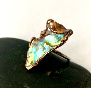 Paua Shell Copper & Silver Ring - Glitter and Gem Jewellery