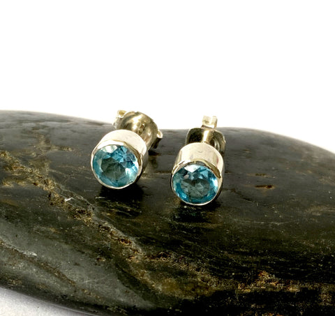 Topaz Sterling Silver Stud Earrings - Glitter and Gem Jewellery