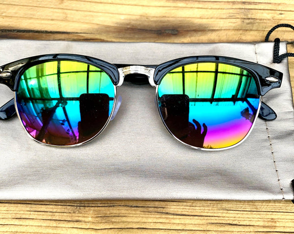 Black and silver mirrored sunglasses - Glitter and Gem Jewellery