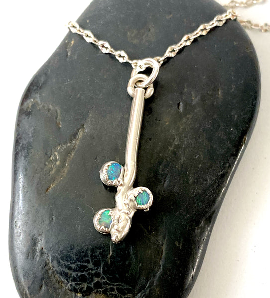 Lightning Ridge Opal Sterling Silver Pendant Necklace