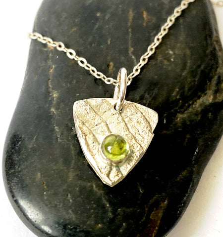 Peridot Silver Cuttlefish Cast Pendant Necklace - Glitter and Gem Jewellery