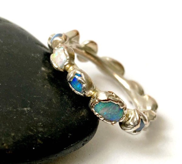 11 Solid Opal Silver Formed Ring