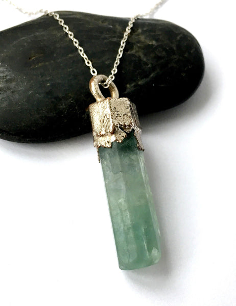 Aqua Green Fluorite Silver Pendant Necklace - Glitter and Gem Jewellery