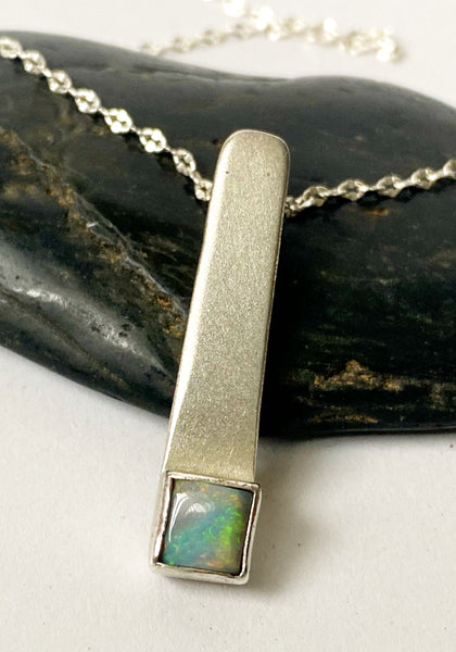 Lightning Ridge Opal Brushed Sterling Silver Pendant Necklace - Glitter and Gem Jewellery