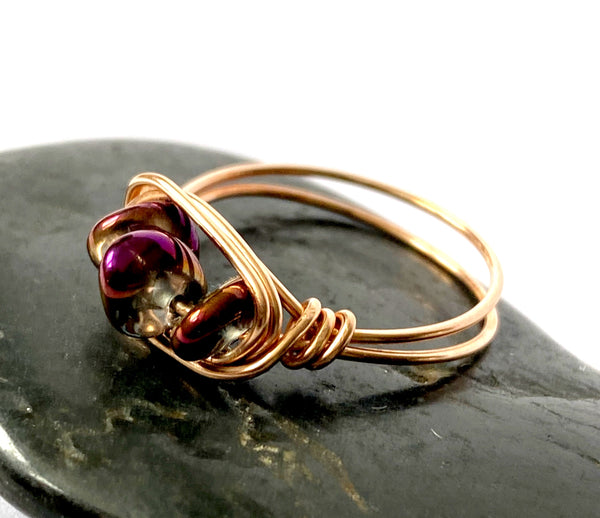 Purple Electroplated Quartz 14 Carat Rose Gold Wire Ring - Glitter and Gem Jewellery