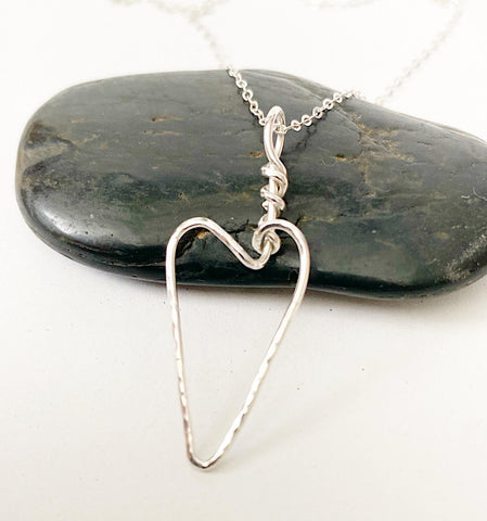 Hammered Textured Sterling Silver Heart Pendant Necklace