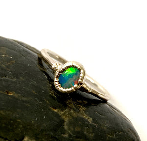 Opal Doublet Silver Formed Ring - Glitter and Gem Jewellery
