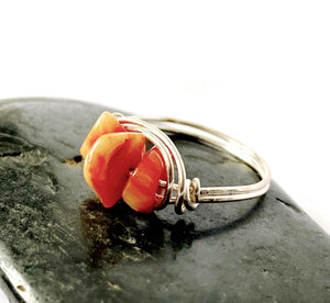 Coral Silver Filled Wire Ring - Glitter and Gem Jewellery
