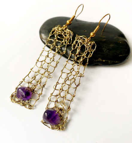Amethyst Hand Woven Brass Toned Dangle Earrings