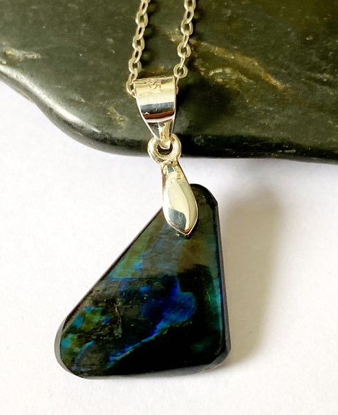 Spectrolite Sterling Silver Pendant Necklace - Glitter and Gem Jewellery