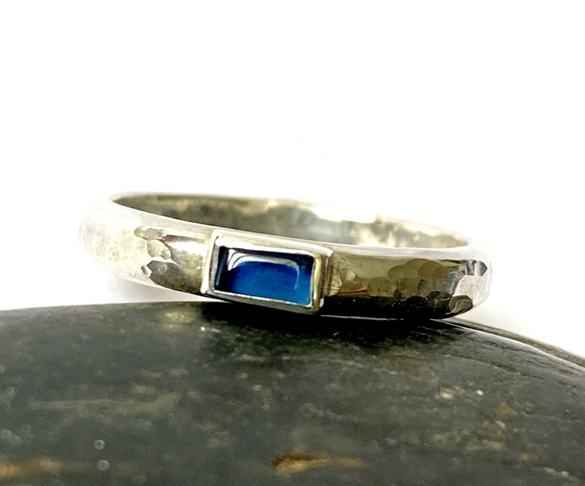 Blue Sapphire Sterling Silver Ring - Glitter and Gem Jewellery