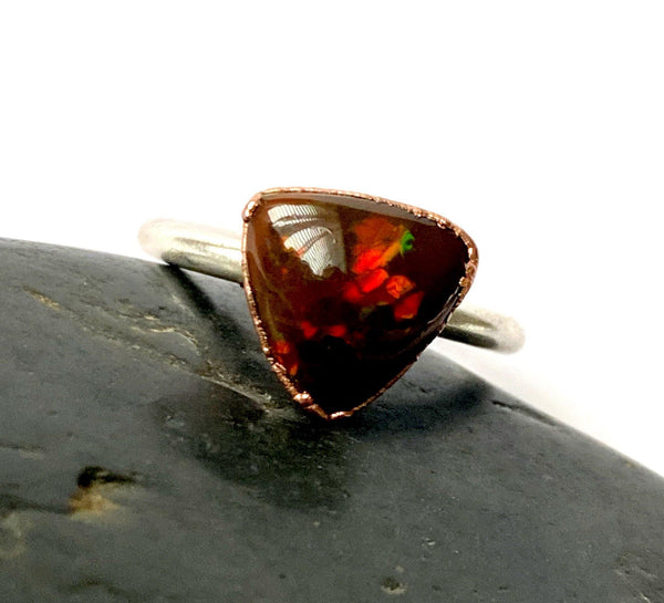 Chocolate Welo Opal Copper & Silver Ring - Glitter and Gem Jewellery