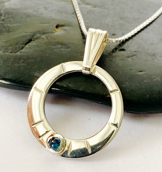 Natural Blue Sapphire Circle Sterling Silver Necklace - Glitter and Gem Jewellery
