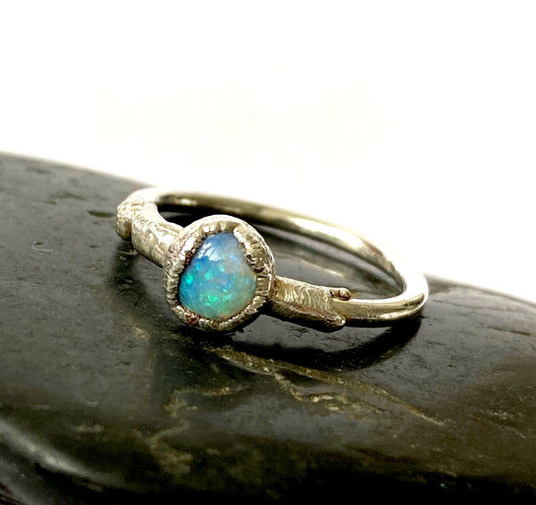 Lightning Ridge Opal Silver Electroformed Ring - Glitter and Gem Jewellery