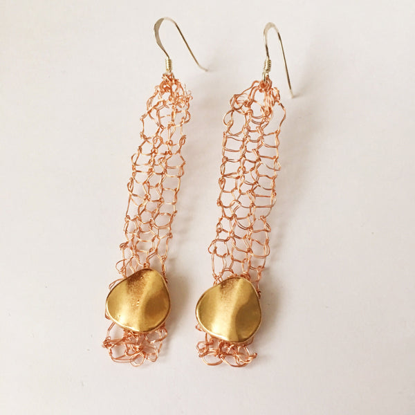 Hand Woven Rose Gold & Gold Disc Dangle Earrings - Glitter and Gem Jewellery