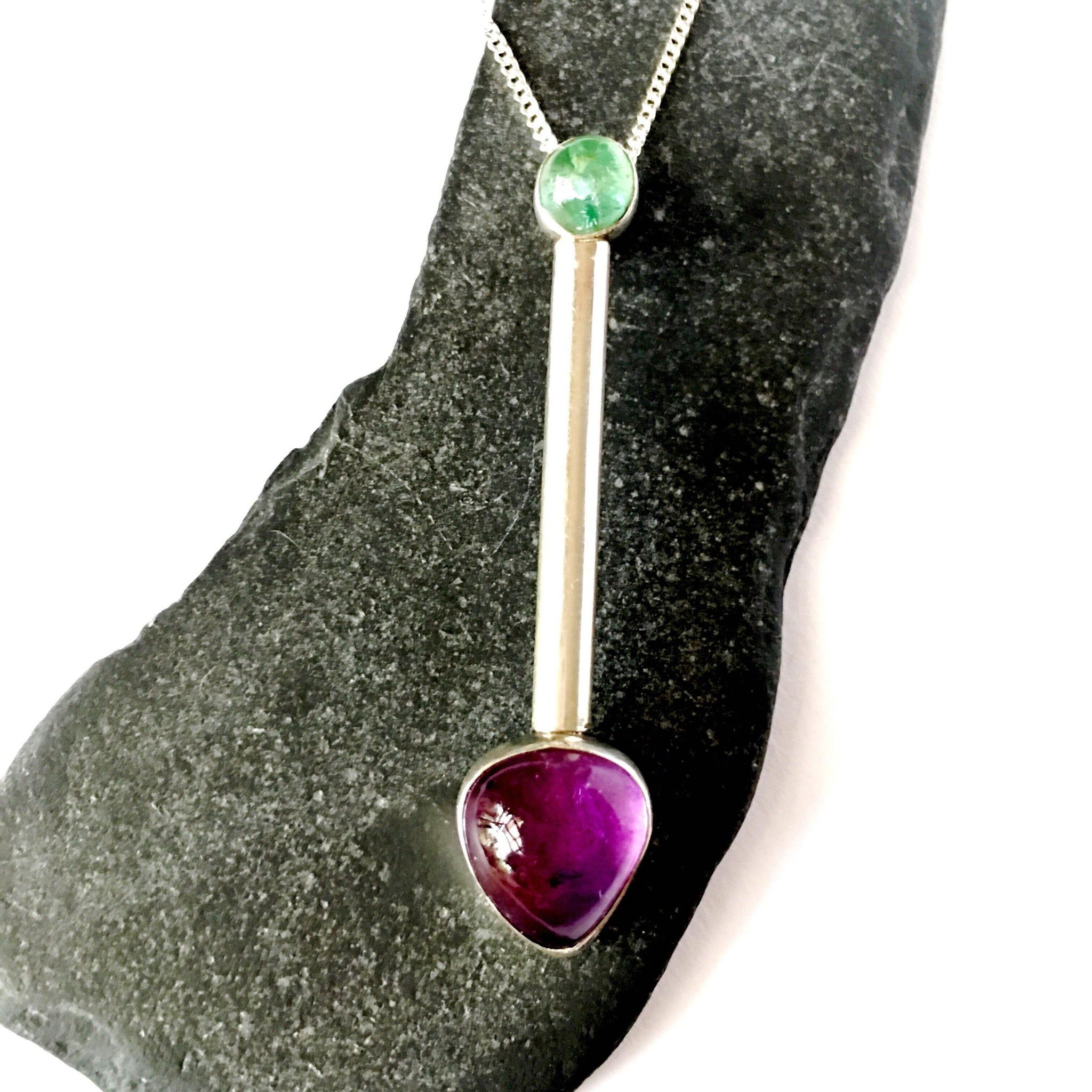 Amethyst & Fluorite Sterling Silver Pendant Necklace - Glitter and Gem Jewellery