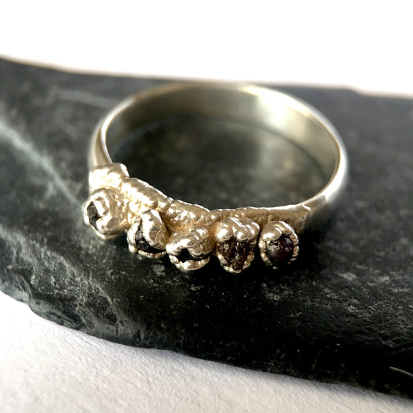 Raw Natural Australian Zircon Silver Formed Band Ring - Glitter and Gem Jewellery