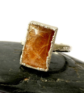 Sunstone Silver & Copper Formed Ring - Glitter and Gem Jewellery
