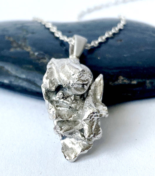 Solid Sterling Silver Abstract Pendant Necklace