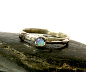 Lightning Ridge Opal Sterling Silver Stacking Ring - Glitter and Gem Jewellery