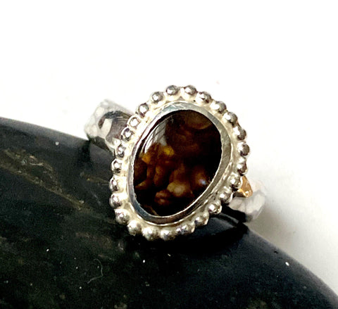 Deer Creek Fire Agate Sterling Silver Ring
