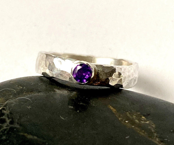 Amethyst Sterling Silver Textured Ring