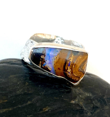 Boulder Opal Textured Sterling Silver Unisex Ring