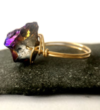 Titanium Rock Crystal 14 ct Gold Filled Wire Ring