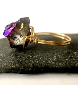 Titanium Rock Crystal 14 ct Gold Filled Wire Ring - Glitter and Gem Jewellery