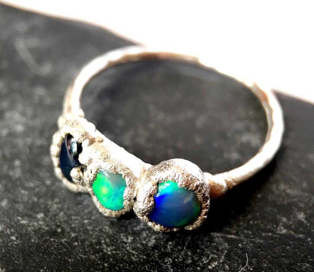 Opal & Sapphire Silver Ring - Glitter and Gem Jewellery