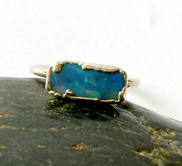 Mintabie Jelly Opal Silver Formed Ring - Glitter and Gem Jewellery
