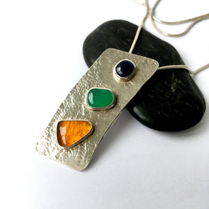 Sapphire,  Marlborough Chrysoprase and American Fire Opal Pendant, - Glitter and Gem Jewellery
