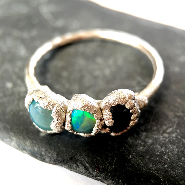 Opal & Sapphire Silver & Copper Ring - Glitter and Gem Jewellery