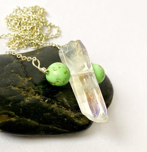 Aura Quartz & Green Turquoise Long Silver Plated Necklace - Glitter and Gem Jewellery